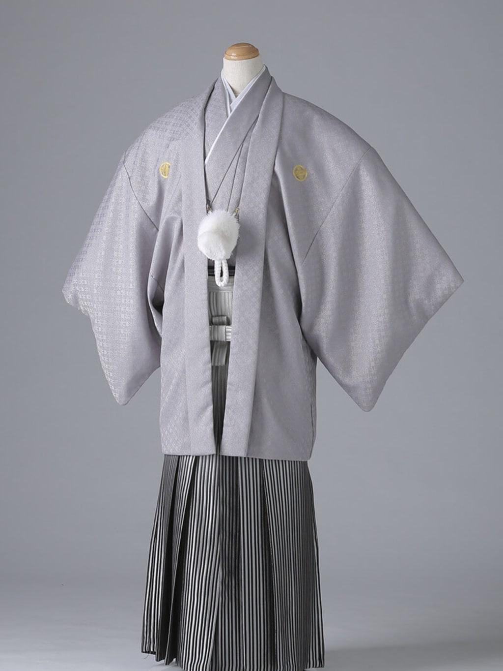 ライトグレー紋付×グラデーション袴