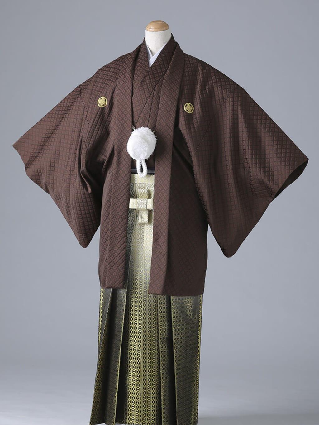 茶紋付×ゴールド袴