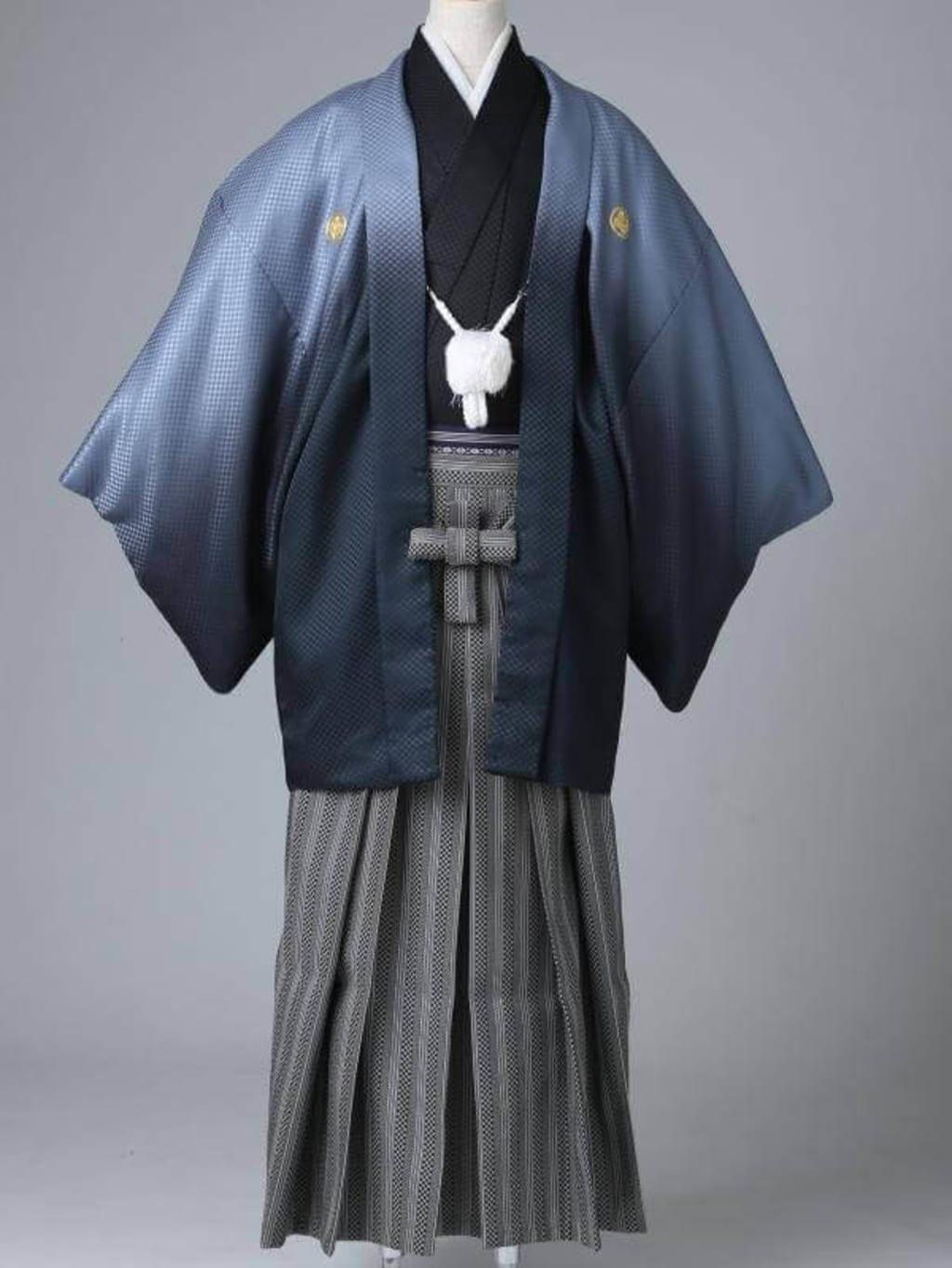 シルバーグラデーション紋服 格子柄袴_横浜店