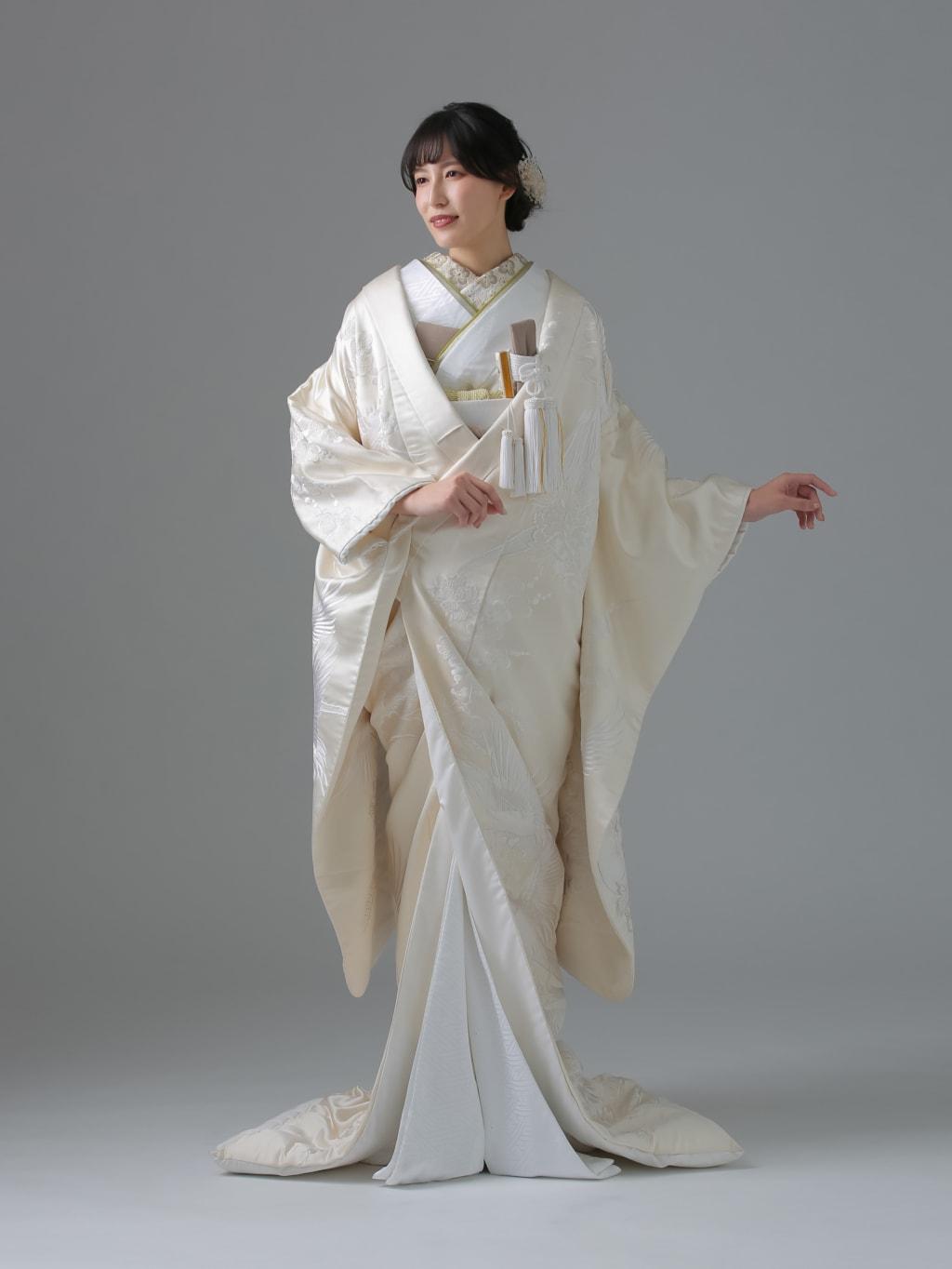 生成り 純白刺繍 鶴 梅