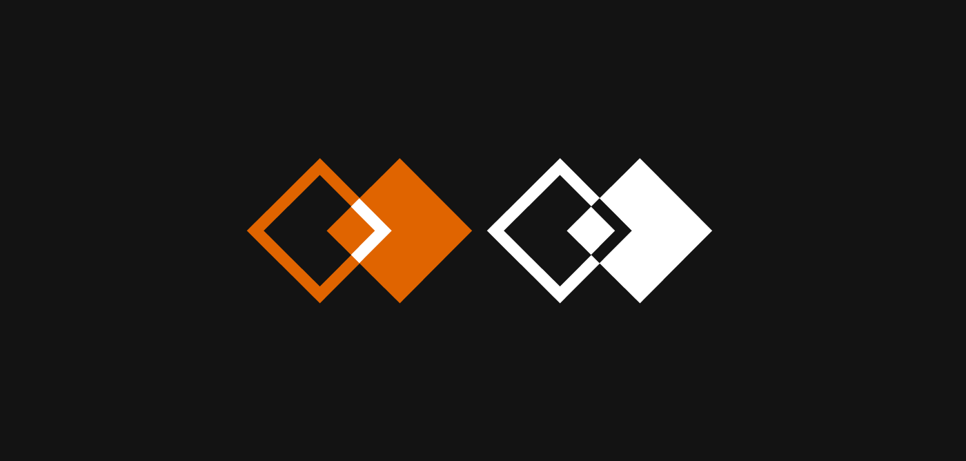 Bicolor Consultancy logo showcase. The logo appears in the brand's iconic orange, and in white.