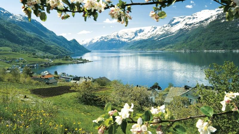 Över Hardangervidda längs Hardangerfjorden till Bergen