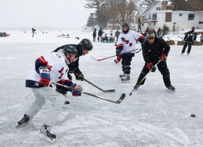 Winter ice hockey at Bayview Wildwood Resort.