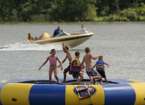 Ruttger's water trampoline at Ruttger's Bay Lake Lodge.