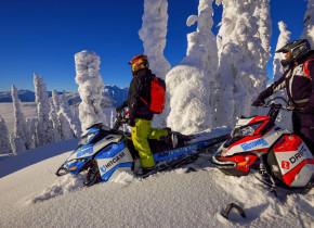 Snowmobiling at Glacier House Resort.