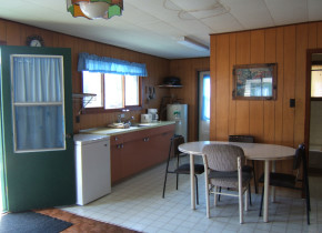 Cabin kitchen at Dogtooth Lake Resort.