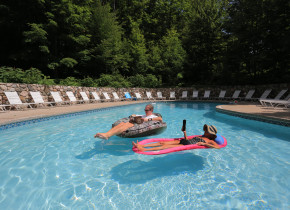 Relaxing in the pool at Trout Creek Condominium Resort.