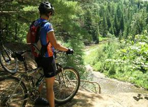 Biking the trails at Rabbit Hill Inn.