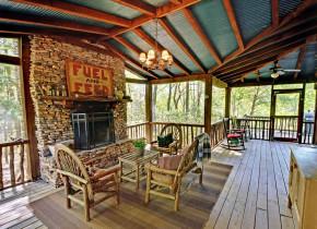 Cabin deck at Sliding Rock Cabins.