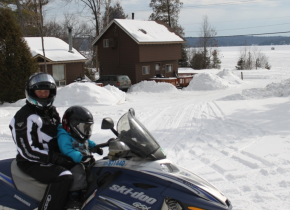 Snowmobiling at Sand Lane Resort.
