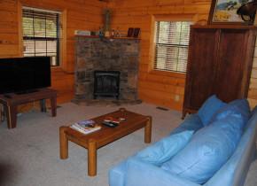 Cabin living room at Cabin Fever Resort.