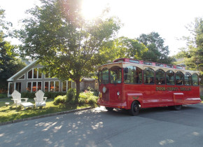 Trolley tours at Waterbury Inn Condominium Resort.