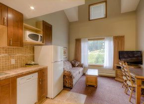 This is the living room and kitchen from a Loft Kitchenette