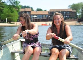 Row boating on the lake at Baker's Sunset Bay Resort.