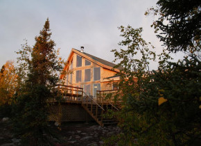 Exterior view of Milton Lake Lodge Saskatchewan.