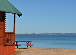 Cabin beach view at Willow Point Resort.