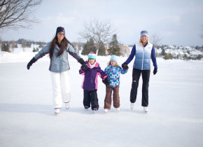 Family skating at Grand Traverse Resort.