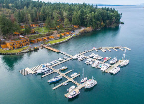 Aerial view of Snug Harbor Marina Resort.