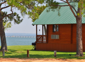 Cabin exterior at Willow Point Resort.