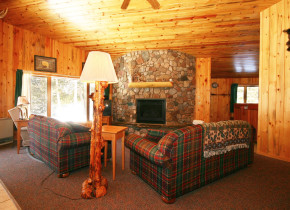 Cabin living room at Gunflint Lodge.