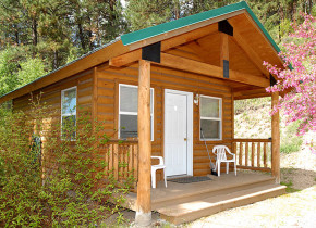 Cabin exterior view of Sourdough Lodge.