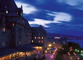Night time exterior view of Fairmont Le Manoir Richelieu.