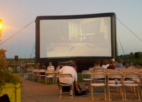 Outdoor movie theater at Arrowwood Resort.