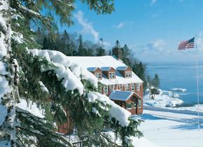 Winter time at Lutsen Resort on Lake Superior.