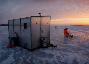 Ice fishing at Zippel Bay Resort.