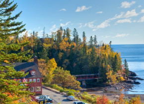 Fall exterior view of Lutsen Resort on Lake Superior.