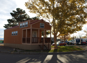 Exterior view of cabin at American RV Park.