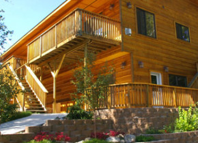 New Chalet building offers four one-bedroom Chalets for up to four persons with log furnishings and designer touches. Great for short stays of a night or two, and romantic getaways.