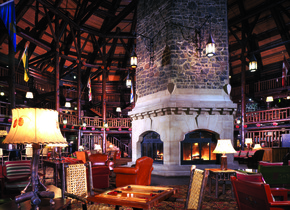 Lobby view at Fairmont Le Chateau Montebello.
