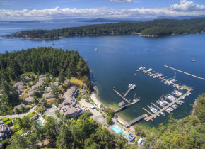 Aerial view of Poets Cove Resort & Spa.