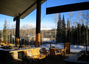 Patio view at Grand Lodge at Brian Head.