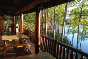 Cabin deck at Sleeping Bear Resort.