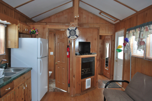 Cabin interior at Gulf Pines RV Park.