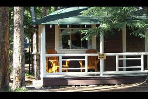 Cabin exterior at Johnston Canyon Resort.
