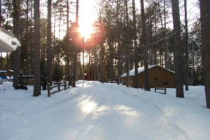 Winter cabins at Timber Bay Lodge & Houseboats.
