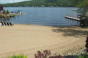 Lakefront beach at The Lodges at Cresthaven on Lake George.