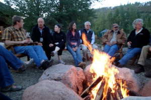 Campfire at Vista Verde Ranch.