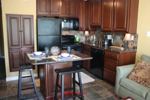 Rental kitchen at A B Sea Resorts.