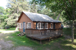 Cabin exterior at Woodland Beach Resort.