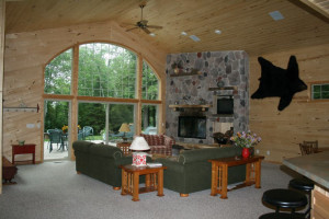 Cabin living room at Lakewoods Resort.
