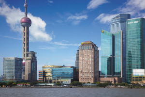 Exterior view of Pudong Shangri-La Hotel.