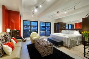 Condo bedroom at Aspen Square Condominium Hotel.