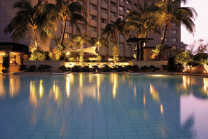 Outdoor pool at Makati Shangri-La.