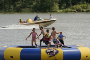 Ruttger's water trampoline at Ruttger's Bay Lake Lodge.