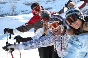 Group skiing at Fiddler Lake Resort.