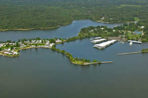 Aerial view of Moors Resort & Marina.
